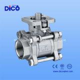 3PC acero inoxidable completa taladro de la válvula de bola con almohadilla de montaje directo 1000wog