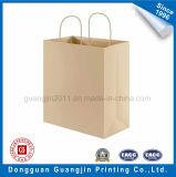 ペーパーによってねじられるハンドルが付いている高品質のクラフト紙のショッピング・バッグ