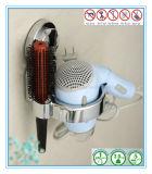 Almacenaje de secador de pelo blanco de las guarniciones del cuarto de baño con la taza de la succión del vacío del aire