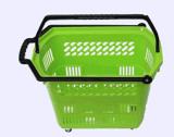 Paniers à provisions en plastique de roulement de supermarché en gros avec les roues 09061