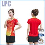Colore rosso a strisce Short-Sleeved per usura di sport delle donne