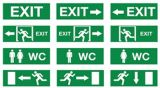 Il LED esce il segno, indicatore luminoso Emergency, segno dell'uscita di sicurezza del LED, segno del LED