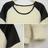 Camisola de pêlo de inverno de moda feminina com ombro de remendo de couro