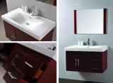Vanità della stanza da bagno del Brown scuro del bacino dell'italiano uno con lo specchio