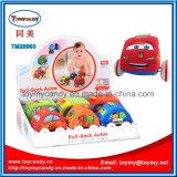 Der neuere Karikatur-entzückenden Kinder ziehen Plastikauto-Spielzeug zurück