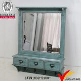 Espejo rústico blanco retro de madera sólida de 2 ganchos de leva de los cajones 2 con el estante