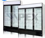 Refrigerador do indicador do refresco de três portas com luz do diodo emissor de luz para o supermercado