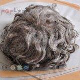 Toupee poli revestido do Hairpiece do Mens da beira base Curly cinzenta do cabelo ondulado da cor da mono