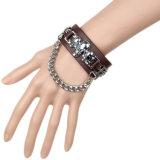 Kundenspezifisches Form-Metall bezaubert lederne Armbänder (HJ6104)