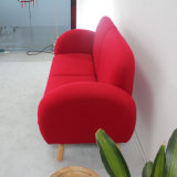Wood solido con Wool Fabric Soft Seat Red Sofa Set 2seats