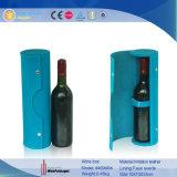 Einzelnes Flaschen-rundes Gefäß-einzelner lederner Wein-Kasten (5728R22)