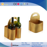 Корзина вина подарка PU двойных бутылок портативная кожаный (4046R7)