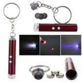 Free Battery 3 in 1 Mini Money Checker Light Laser Pointer UV Keychain Lanterna