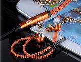 휴대용 다채로운 금속 지퍼 입체 음향 붙박이 마이크 이어폰