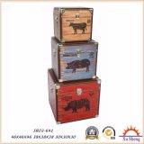 Jogo do vintage 3 a caixa de presente da caixa de jóia da mala de viagem da cópia do teste padrão da galinha