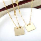 De nieuwe Halsband van de Diamant van het Roestvrij staal van de Juwelen van de Manier Vierkante Goud Geplateerde