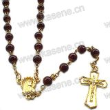 Collana di vetro del rosario dell'oro veloce di vendita con la traversa della croce