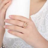 기털 반지 로즈 & 확실한 정밀한 보석 반지를 Wedding 여자 형식을%s 명확한 CZ 반지로 925 순은 빛