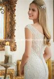 Morilee, das betäubt, Perle weg von der Schulter-Schutzkappe bördelnd, Sleeves Nixe-Hochzeits-Kleid (Dream-100091)