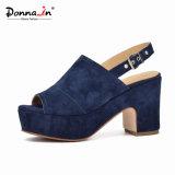Form-Frauen-Veloursleder-Leder-Absatz-Plattform-beiläufige Dame Sandals