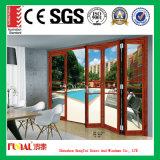 Puerta Bifold de aluminio modificada para requisitos particulares de la talla con el vidrio modificado para requisitos particulares