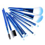 [10بكس] زرقاء مستحضر تجميل بنية فرشاة مجموعة مع [بو] جلد