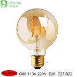 2W 4W 6W 8W G80 LEDのフィラメントの球根ランプのこはく色カバー100lm/W
