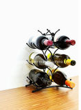 L'étalage à la mode de crémaillère de vin en métal de 6 bouteilles rayonnent