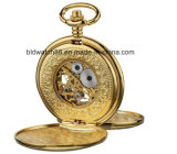 Vigilanza Pocket di scheletro meccanica dell'oro degli uomini con la catena