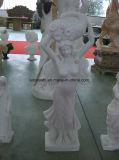 Marbre en marbre Pierre Jardin Dame Sculpture