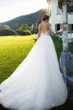 Eine Zeile Fluss-Schatz-Ausschnitt-Tulle-Hochzeits-Kleid