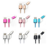 Cable de datos de carga trenzado de nylon del USB 2in1 para el iPhone y Samsung