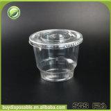 copos plásticos desobstruídos biodegradáveis do gelado 12oz com tampas da abóbada