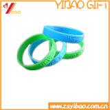 Bracelet coloré de sport de silicones de logo fait sur commande