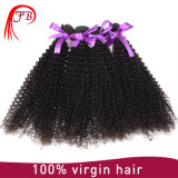未加工および加工されていない人間の毛髪のモンゴルのねじれたカーリーヘアーのよこ糸