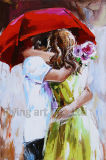 Peinture à l'huile moderne pour l'amoureux sous le parapluie