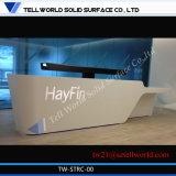 Contador de superfície contínuo acrílico personalizado da recepção para o projeto da mesa de recepção do preto do banco