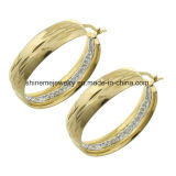 Pendiente del oro del laminado del precio de la alta calidad de la joyería de Shineme buen con CZ