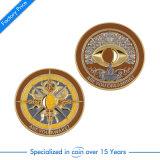 Pièce de monnaie gravée en relief par souvenir fait sur commande bon marché en métal d'or