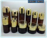 Tarro de cristal cosmético de cristal de color marrón oscuro de la botella y del cosmético con la tapa de acrílico