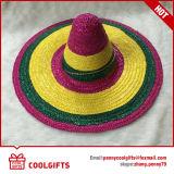Chapéus de palha mexicanos do grande Sombrero do arco-íris para o partido do vestido