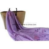ポリエステルによって染められる刺繍のレースのスカーフ(AJC10003976)