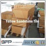 Azulejos de madera de la vena del amarillo del azulejo de suelo de la piedra arenisca para la decoración del centro turístico