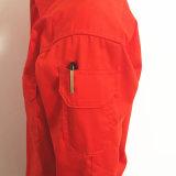 Vêtements de travail 100% fleurissants de procès de combinaison de franc de coton d'orange avec r3fléchissant
