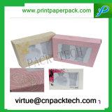 プラスチックが付いている装飾的なペーパーギフト用の箱を包むカスタムロゴの印刷の美