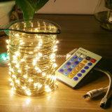 La hada magnífica LED enciende las luces de la cadena de la luciérnaga del alambre de cobre teledirigidas para la cena de Navidad del banquete de boda