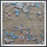 多色刷りの網の刺繍のレース4の調子の刺繍のレース