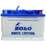 Batería seca DIN75 Zolo de la carga del automóvil