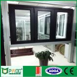 Окно алюминиевого профиля складывая при двойник застекленный для сбывания