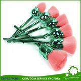 高品質6PCSのナイロン毛の緑のハンドルのローズの花の構成のブラシ